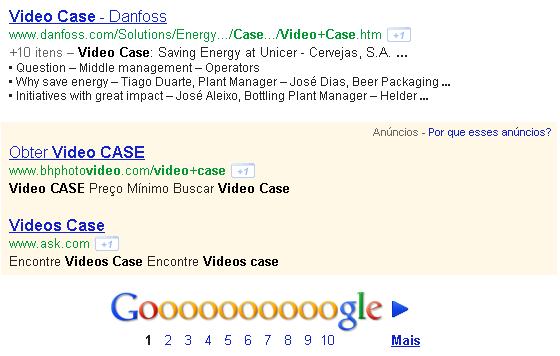 Anúncios de Links Patrocinados na parte inferior dos resultados de buscas do Google.