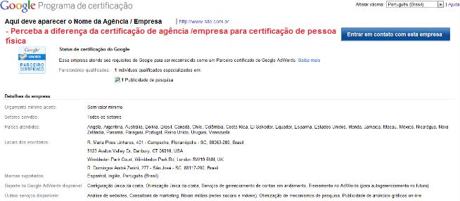 Página de Confirmação do Google: Certificação de Agência / Empresa