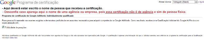 Página de Confirmação do Google: Certificação Pessoa Física / Profissional