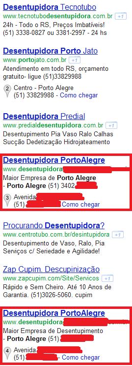 Exemplo de Duplo Fornecimento - Desentupidoras em Porto Alegre (RS), consulta feita no dia 05.12.2111 ás 20 horas