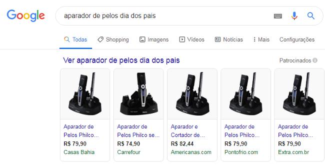 anúncios do google shopping