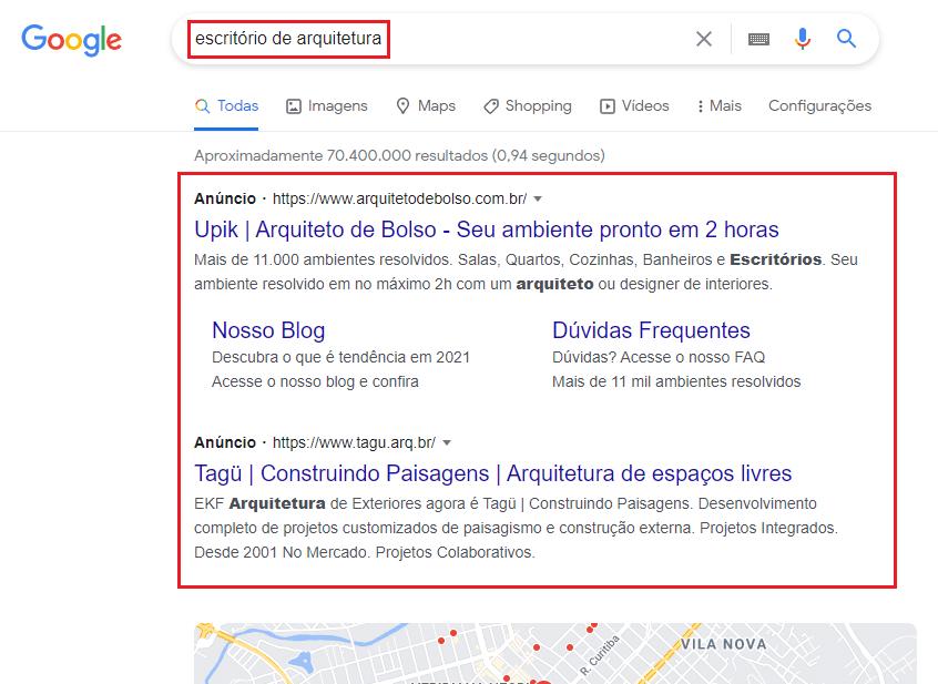 anúncios de escritório de arquitetura no Google