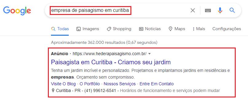 exemplo de anúncios de paisagismo no Google