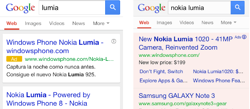 Formato Links Patrocinados dispositivos mobile