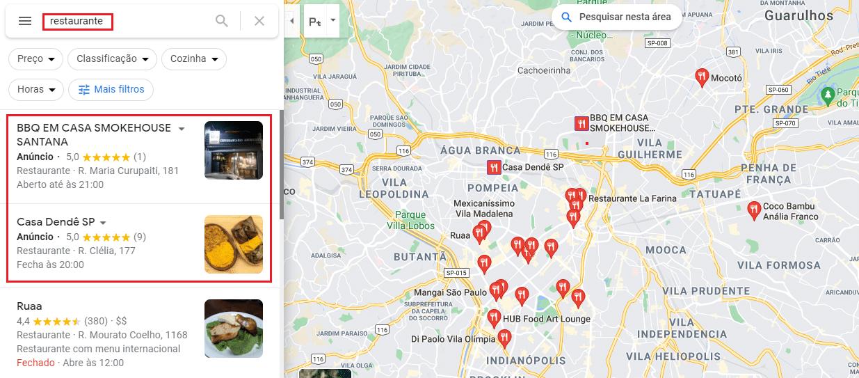 exemplo de anúncios no Google Maps