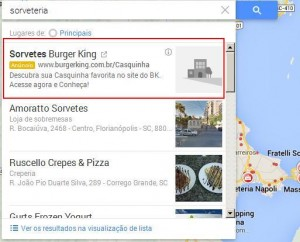 Links Patrocinados e barra de rolagem no Google Maps