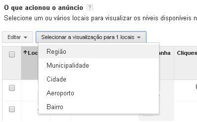 Selecionar visualização de região estado cidade ou aeroporto