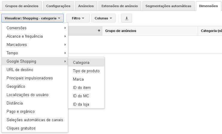 Detalhes dos atributos do Google Shopping exibidos na guia dimensões do Google Ads