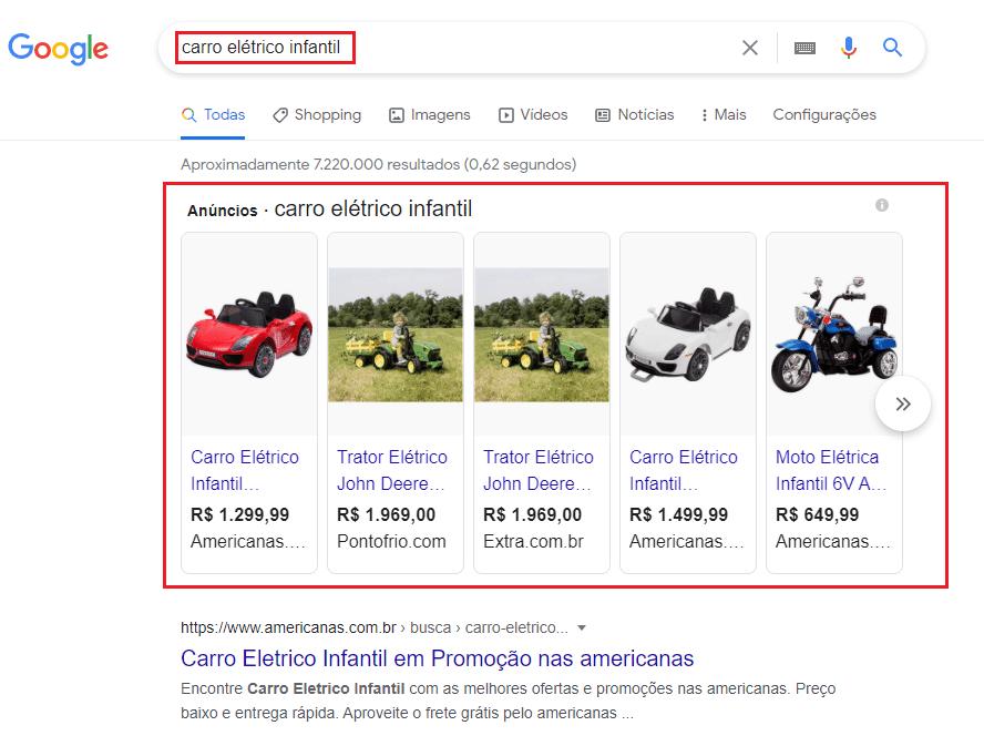 exemplo de anúncios de brinquedos no Google