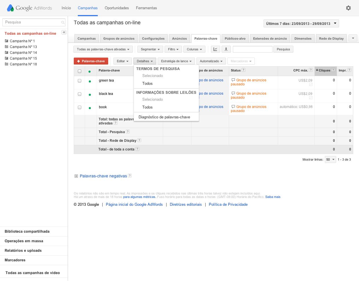 Relatório termo de pesquisa ao anunciar no Google