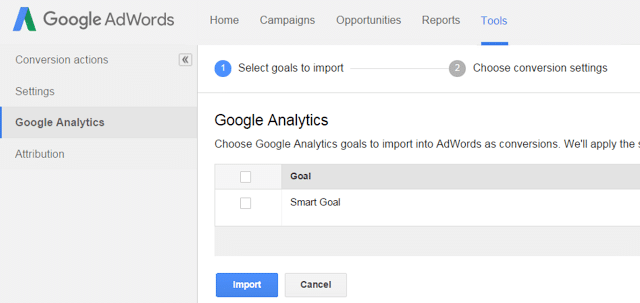 Importar metas inteligentes no google adwords