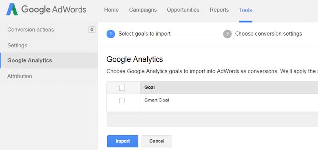 Importar metas inteligentes no google adwords