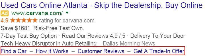 Exemplo de extensões de anúncios no google adwords