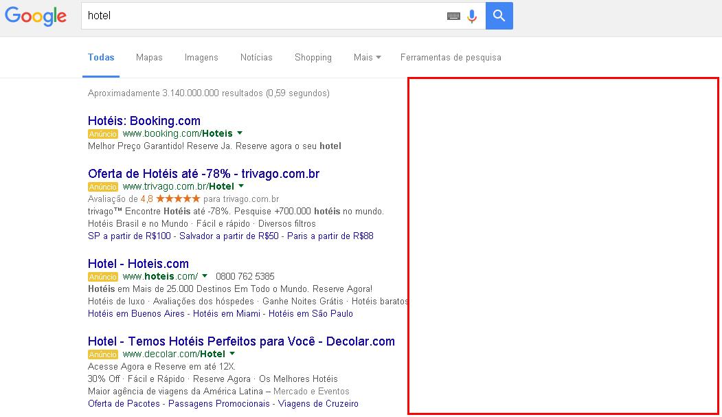Pesquisa Google sem resultado lateral