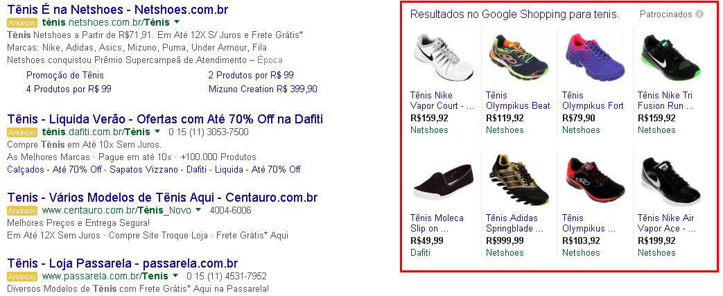 Resultado lateral google shopping