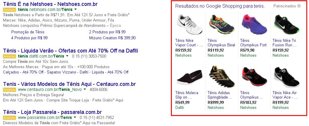 Resultado lateral google shopping