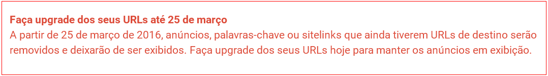 Upgrade das URLs de destino do google adwords