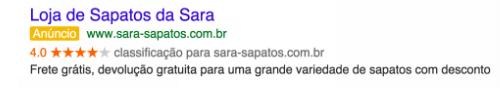 Classificações do vendedor no google adwords