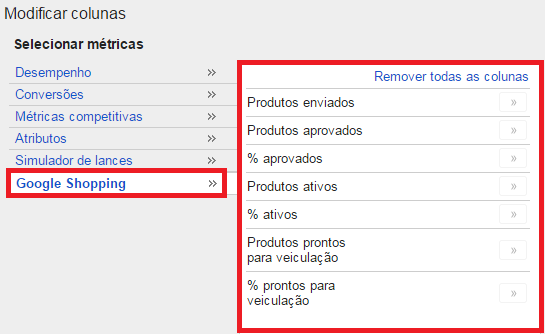 Colunas status de produtos no google shopping