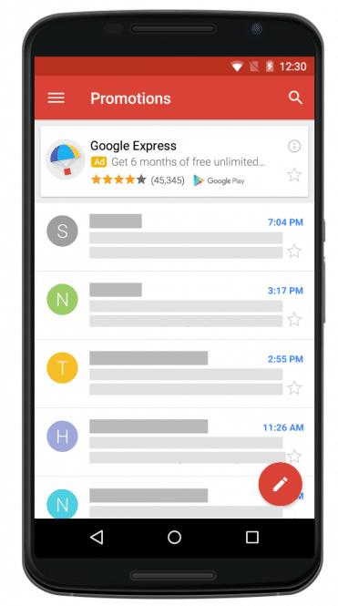 Campanhas universais para aplicativos no gmail