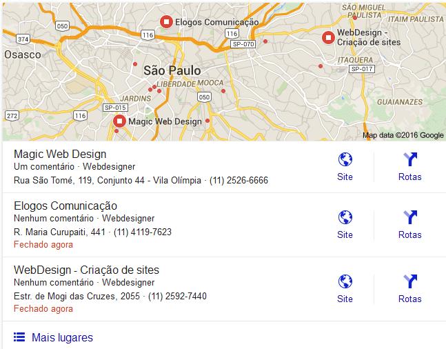 Caixa resultado locais do google