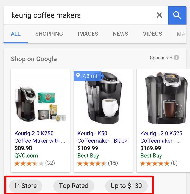 Filtros de anúncios google shopping