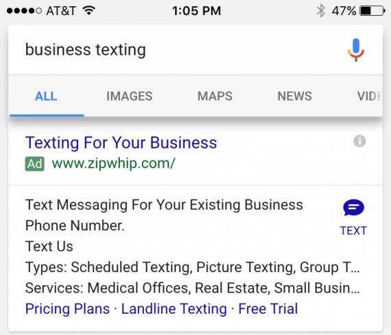 Google Ads clique sms