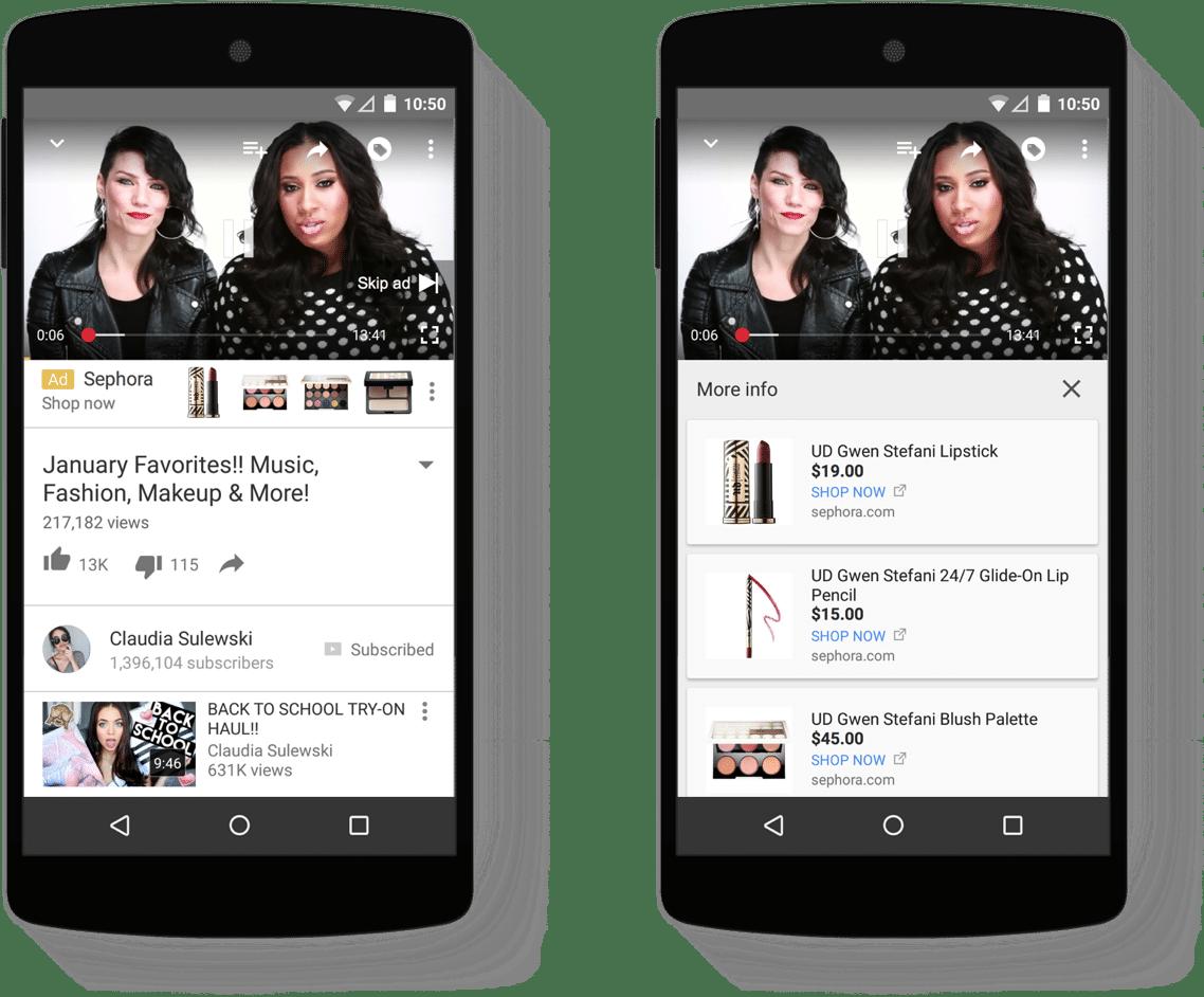 Banner interativo vídeos trueview google shopping