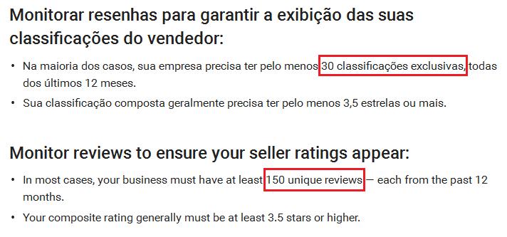 Atualização classificações exclusivas nas extensões do vendedor