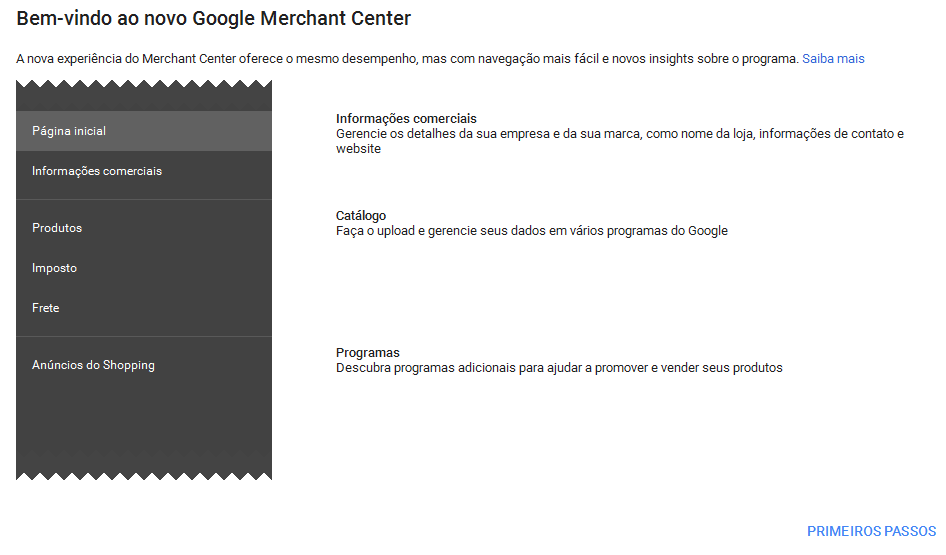Novo google merchant center