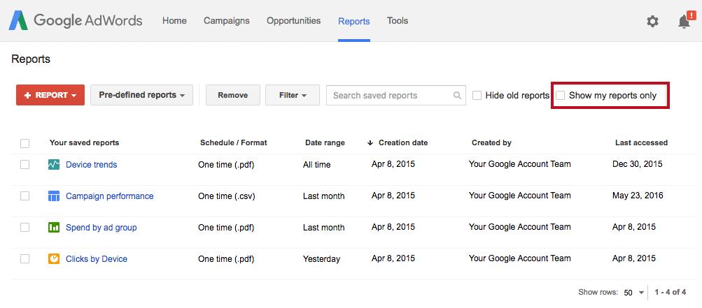 Relatórios Google Ads