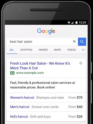 Extensões de preço google adwords