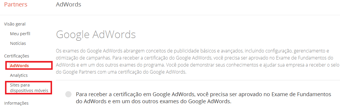 Certificação google mobile sites
