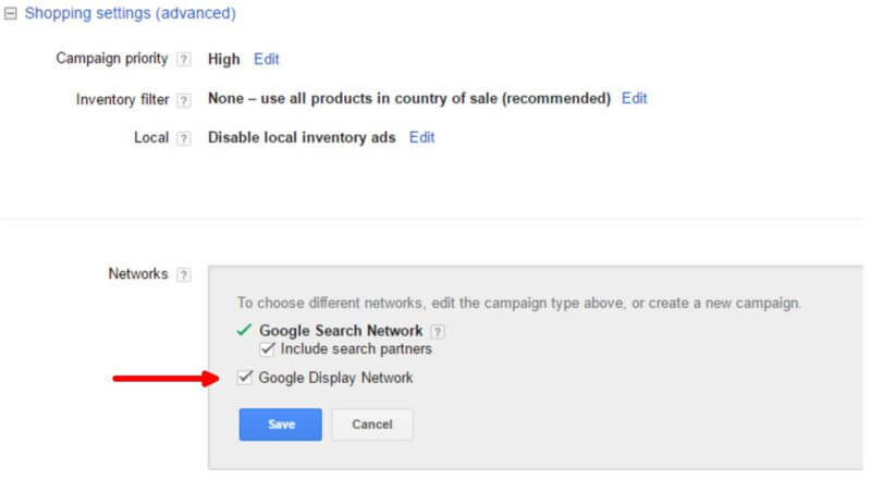 Google Shopping rede display