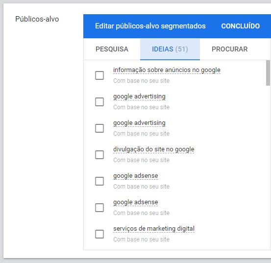 editar públicos-alvo segmentados