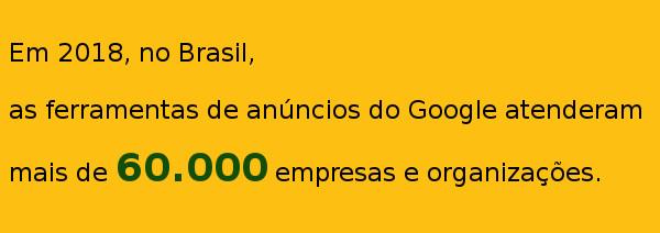 No Brasil, as ferramentas de anúncios do Google atenderam mais de 60.000 empresas.