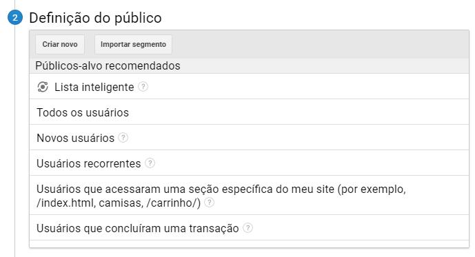 Públicos-alvo recomendados
