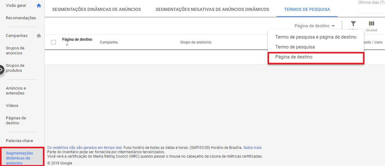 Relatório do Google Ads Mostra Páginas de Destino Com Melhor Desempenho nos DSAs