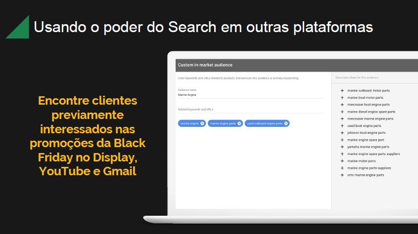 Poder de convergência search, display, gmail e youtube