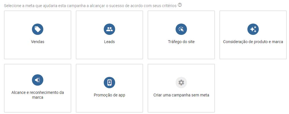 Escolher meta para campanhas no Google Ads