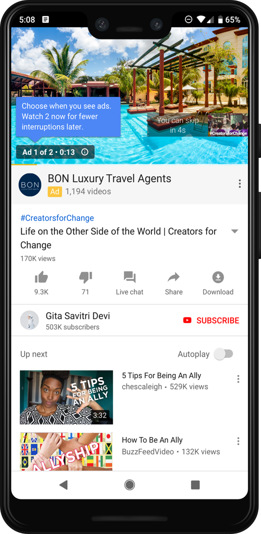 Pods de anúncios do YouTube