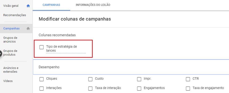 Colunas recomendadas pelo Google Ads