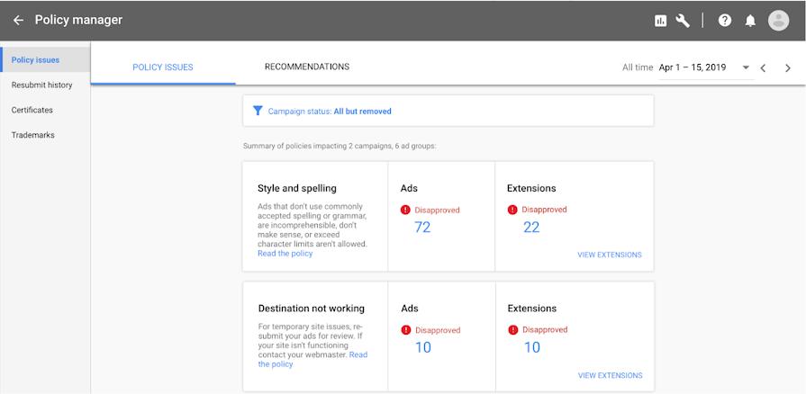 Gerenciador de Políticas do Google Ads
