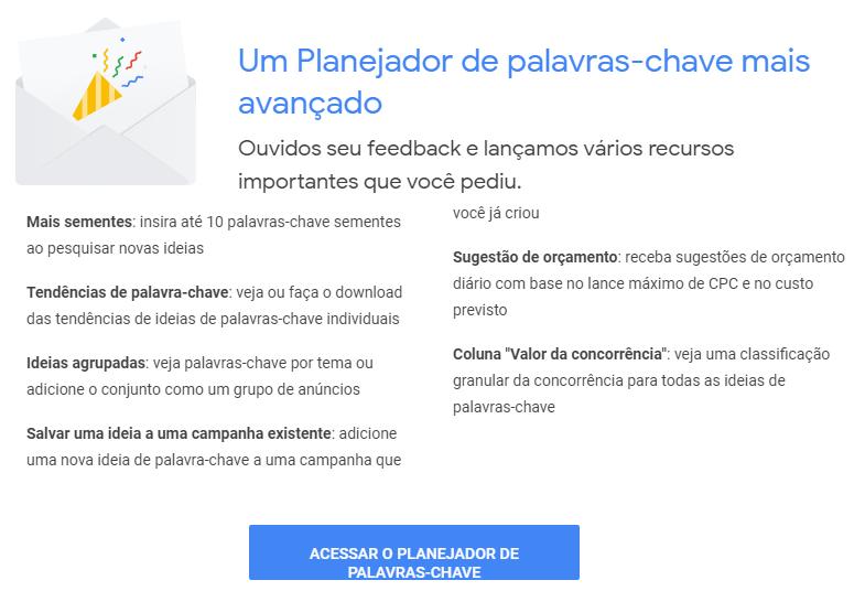 Google Ads Apresenta Novidades no Planejador de Palavras-chave