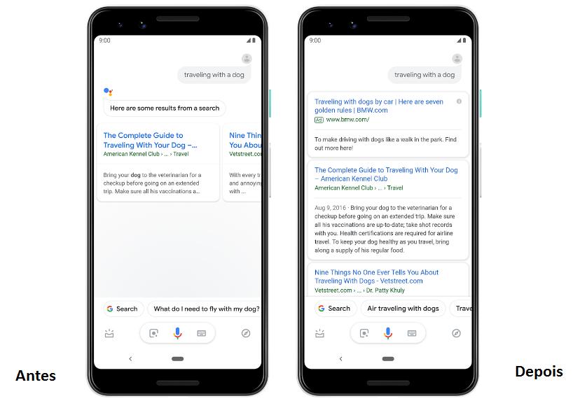 Google Assistente exibe anúncios de texto