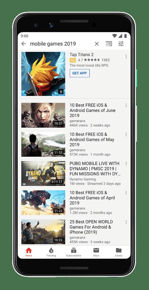 Anúncios de Aplicativos na Pesquisa do YouTube