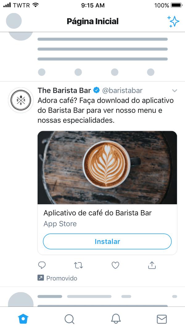 Anúncio twitter app card