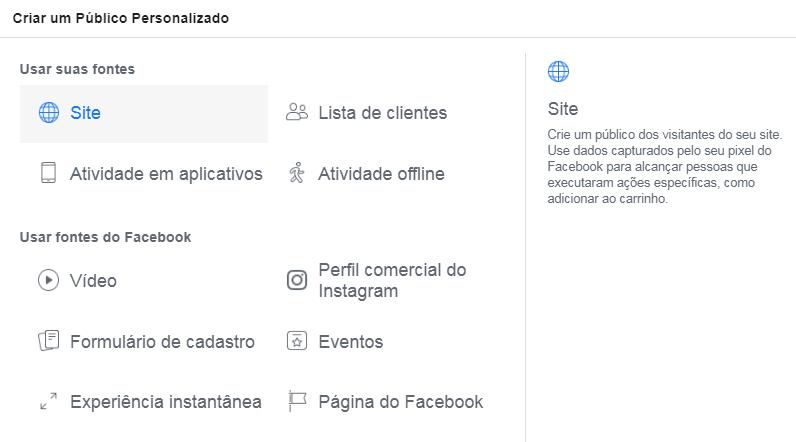 criar lista remarketing facebook
