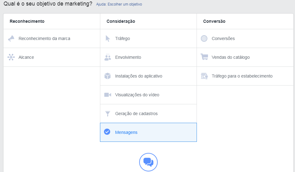 objetivos anunciar messenger ads
