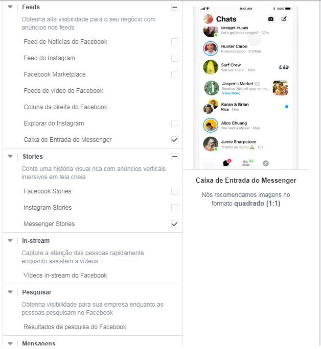 Posicionamentos Facebook Messenger Ads
